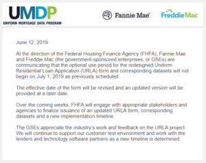FHFA Directs GSEs to Delay URLA Implementation - Docu Prep